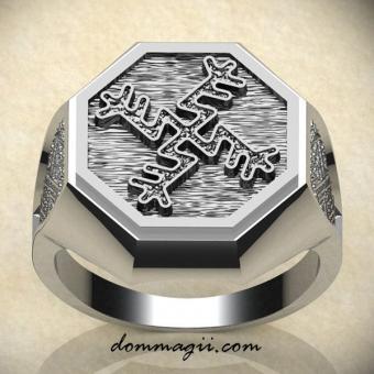 кольцо с вязью денежная свастика