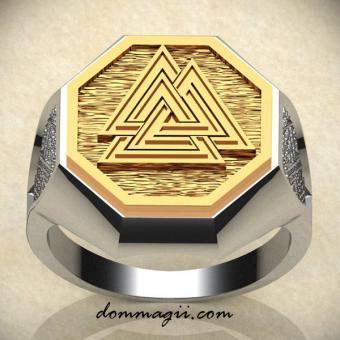 Комбинированное кольцо с Валькнутом