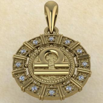 Подвеска Весы золото с бриллиантами