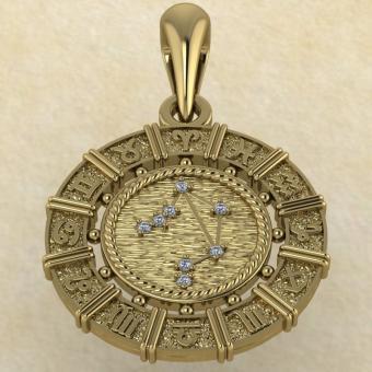 Знак зодиака Подвеска Весы золото с бриллиантами