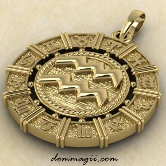 Кулон Водолей из золота 21 мм