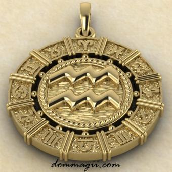 Зодиакальная подвеска золото 21 мм