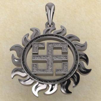 Славянский оберег Всеславец из серебра