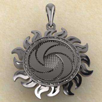 Славянская подвеска Ярило воздушный серебро