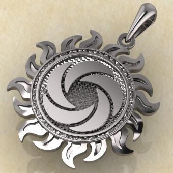 Славянский оберег Ярило воздушный серебро