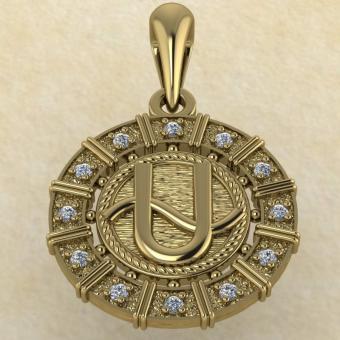 Подвеска Змееносец золото с бриллиантами