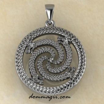 Славянский оберег Змеевик из серебра